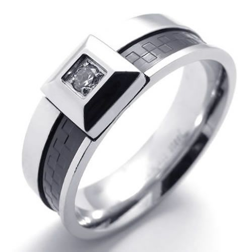 Mens Black Silver Stainless Steel Ring US Size 7 8 9 10 11 US120325